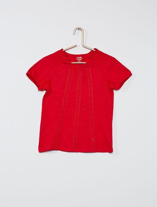 T-shirt smocké éco-conçu                                                                                                                                                                             rouge