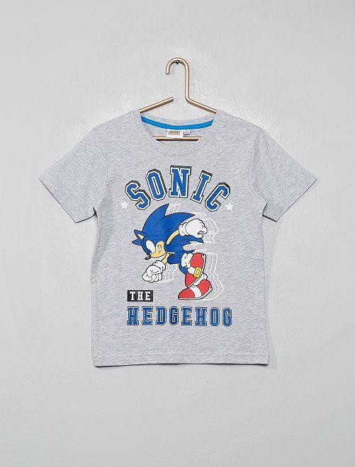 T-shirt 'Sonic'                             gris chiné