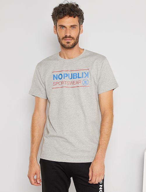 T-shirt sportswear imprimé                             gris chiné