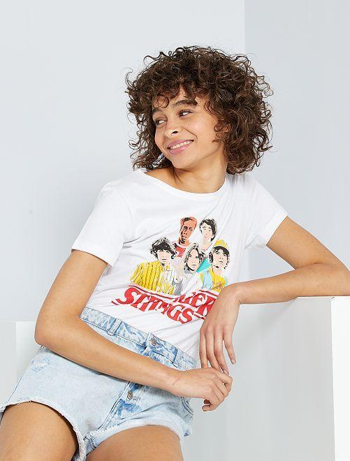 T-shirt 'Stranger Things'                             blanc