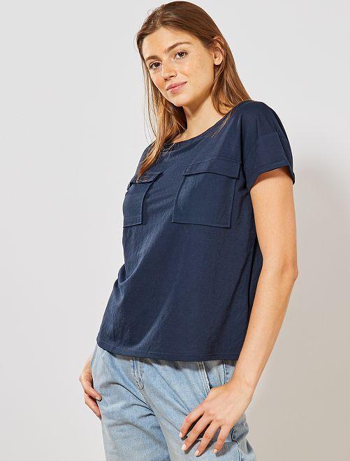 T-shirt style blouse                             bleu marine Femme