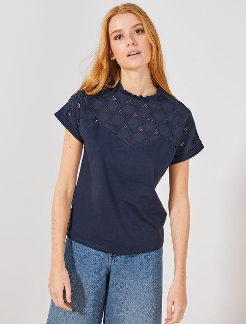 T-shirt style blouse broderie anglaise                             bleu