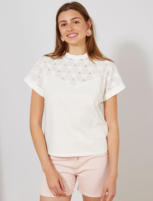 T-shirt style blouse broderie anglaise                                         écru Femme