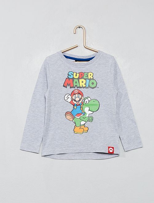 T-shirt 'Super Mario'                             gris chiné