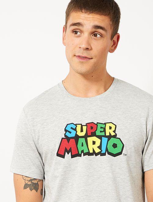 T-shirt 'Super Mario'                                         gris chiné Mario Homme