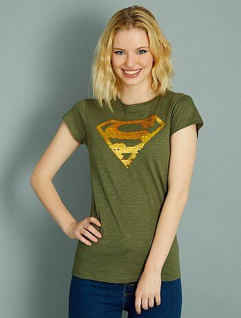 T shirt `Superman` en sequins