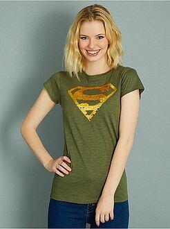 T-shirt, débardeur kaki - T-shirt 'Superman' en sequins réversibles - Kiabi