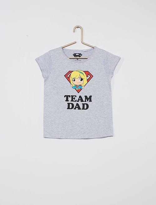 T-shirt 'Team Dad' 'Superman'                             gris chiné