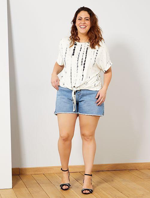 T-shirt tie and dye et nœud                             blanc Grande taille femme