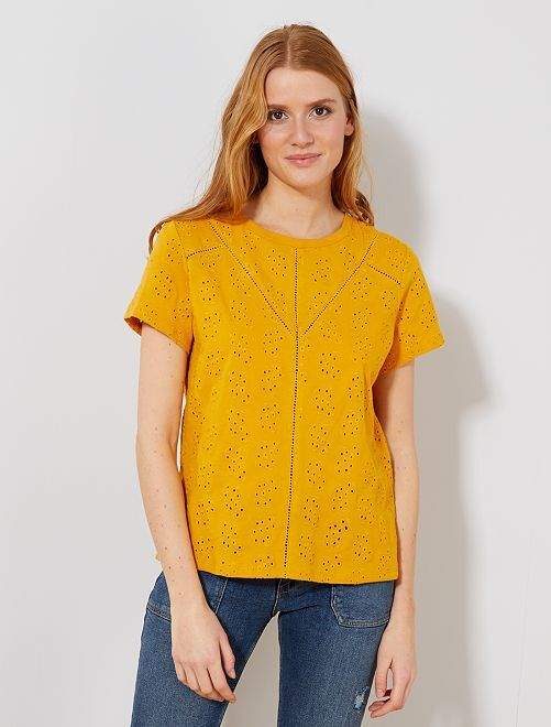 T-shirt total broderie anglaise                                                                             jaune Femme