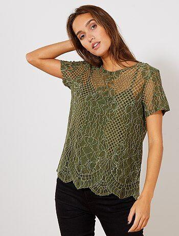 T shirt total dentelle avec ouverture goutte
