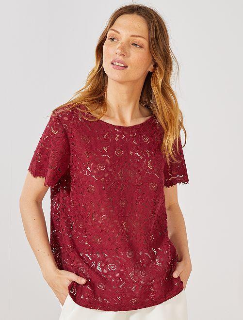 T-shirt total dentelle                                                                 bordeaux Femme