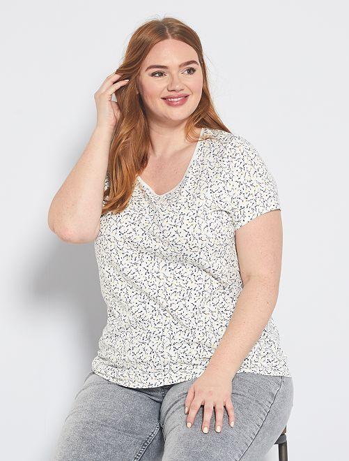 T-shirt total imprimé                                                                                                                                         blanc fleurs