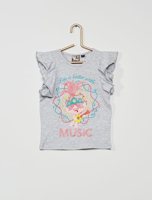 T-shirt 'Trolls' pailleté                                         gris