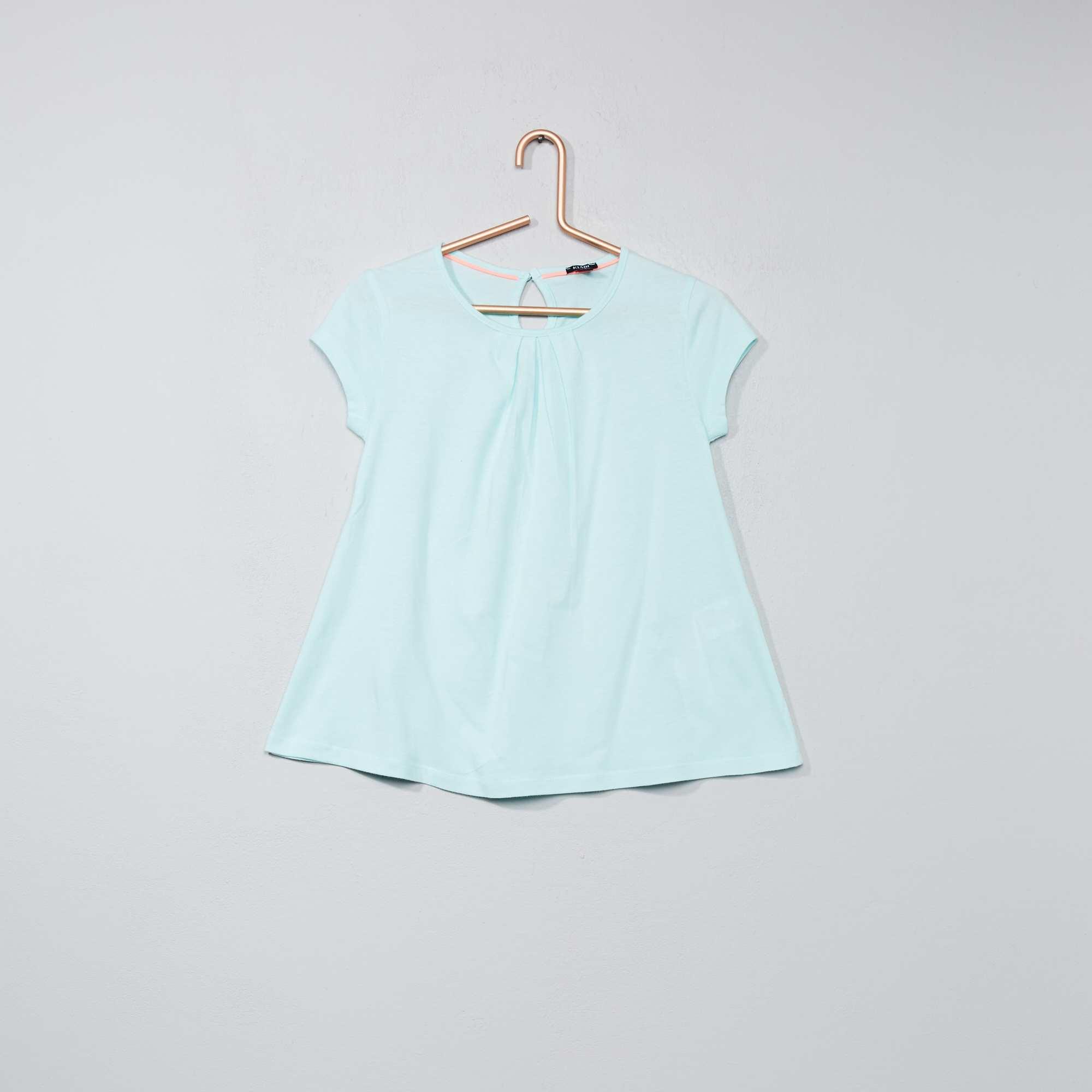 t shirt uni avec plis fille bleu vert kiabi 3 00. Black Bedroom Furniture Sets. Home Design Ideas
