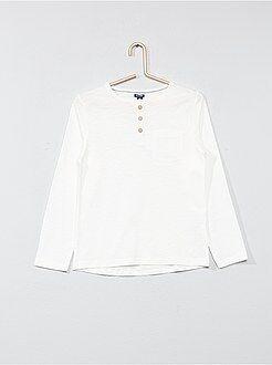 Garçon 3-12 ans - T-shirt uni col tunisien - Kiabi