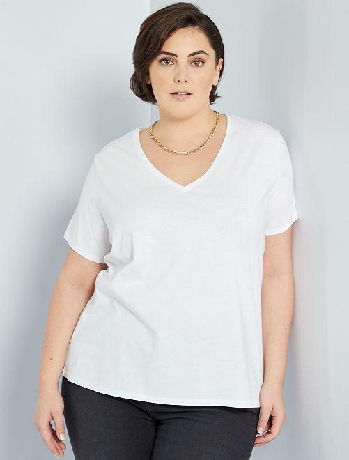 T-shirt uni col V                                                                                                                                                     blanc