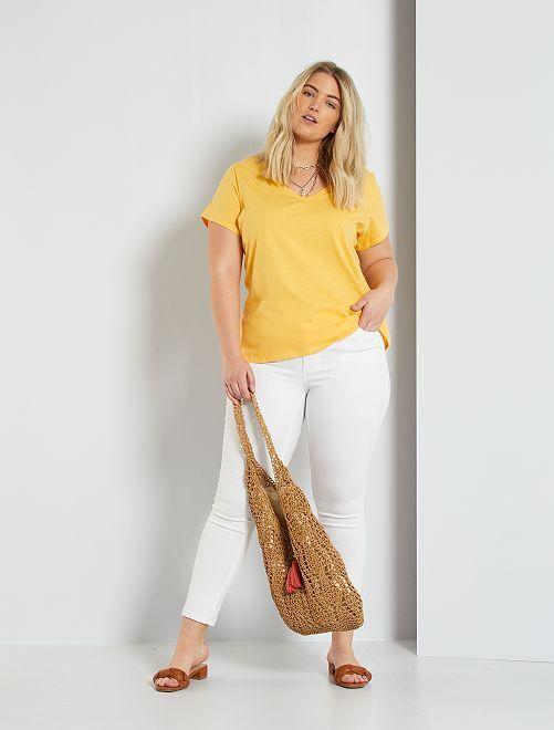 T-shirt uni col V                                                                                                                                         jaune crème