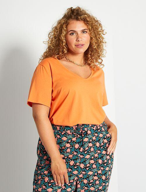 T-shirt uni col V                                                                                                                                         orange