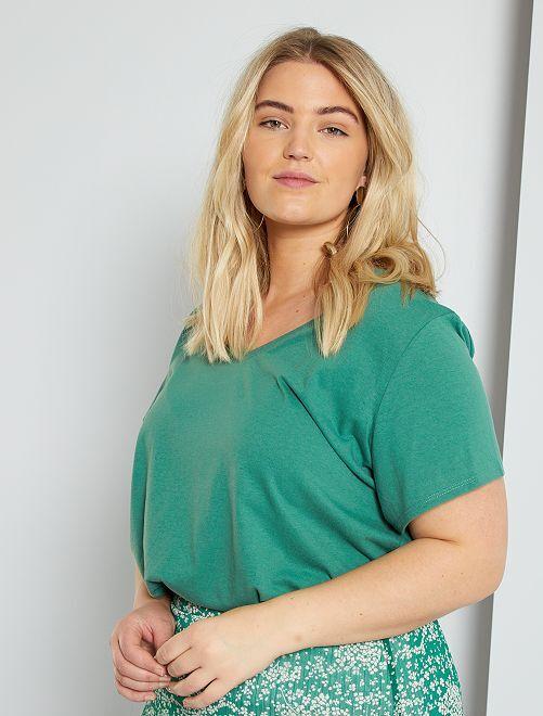 T-shirt uni col V                                                                                                                                                                                         vert pin