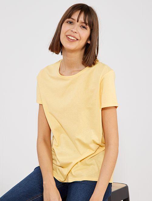 T-shirt uni en coton                                                                                                                                                                                                                                                                                                                                                                 jaune pale