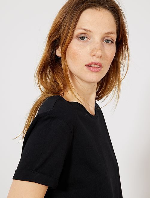 T-shirt uni en coton                                                                                                                                                                                                                                                                                                                                         noir uni Femme