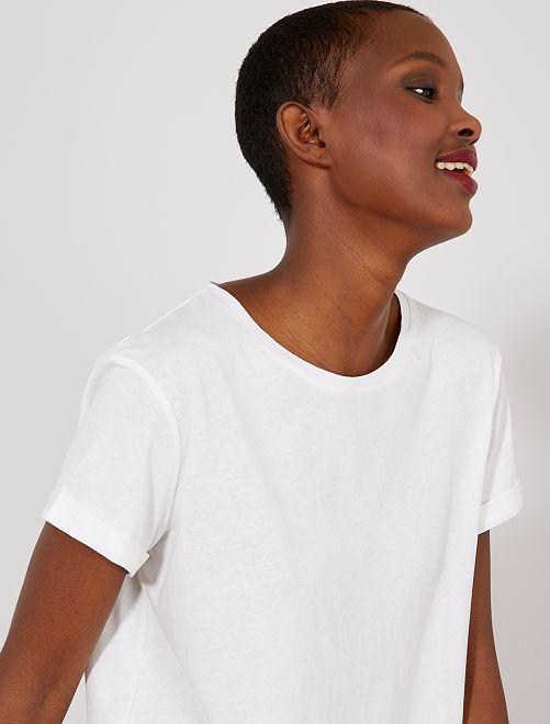 T-shirt uni en pur coton                                                                                                                                                                                                                                                                                                                                                                 blanc uni Femme