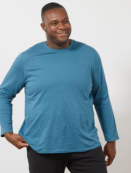 T-shirt uni pur coton                                         bleu canard