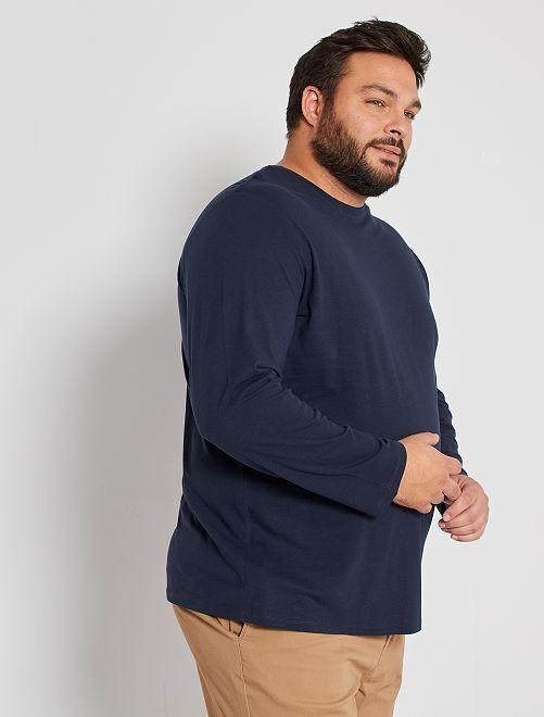 T-shirt uni pur coton                                                                 bleu marine