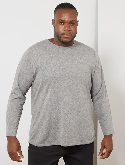 T-shirt uni pur coton                                                                 gris chiné