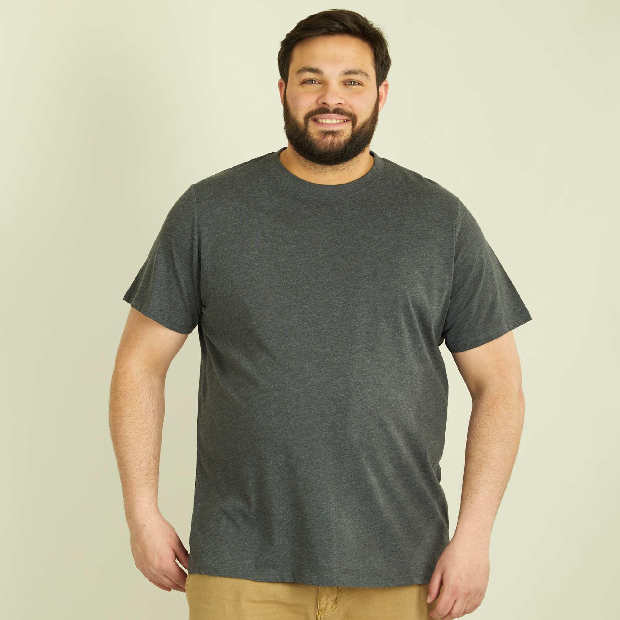 t shirt uni pur coton grande taille homme gris fonc chin kiabi 5 00. Black Bedroom Furniture Sets. Home Design Ideas