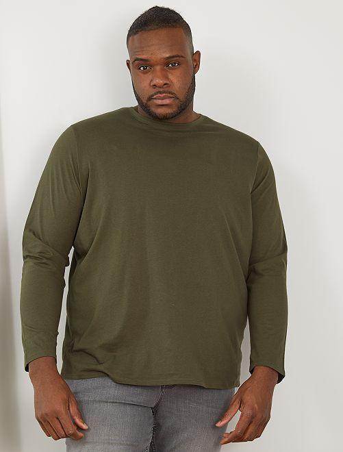 T-shirt uni pur coton                                                                 kaki