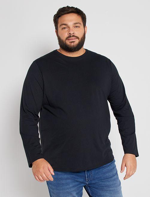 T-shirt uni pur coton                                                     noir Grande taille homme