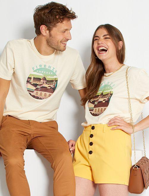 T-shirt unisexe imprimé                                                                 écru/firenze