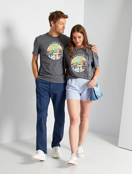 T-shirt unisexe imprimé                                                                 gris/lisboa