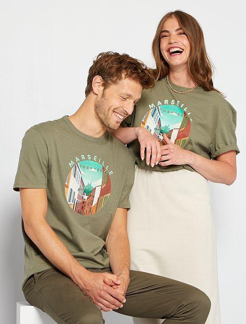 T-shirt unisexe imprimé                                                                 kaki/marseille