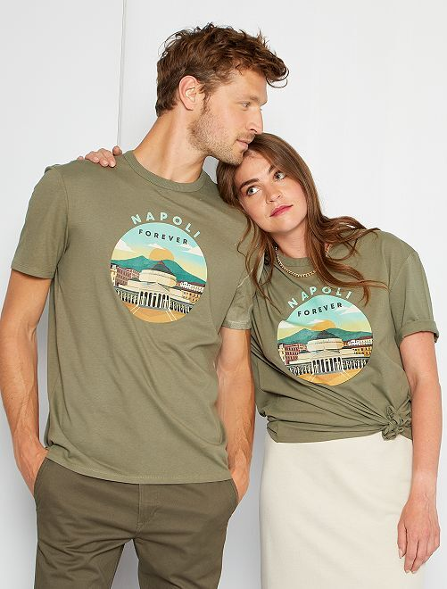 T-shirt unisexe imprimé                                                                 kaki/napoli