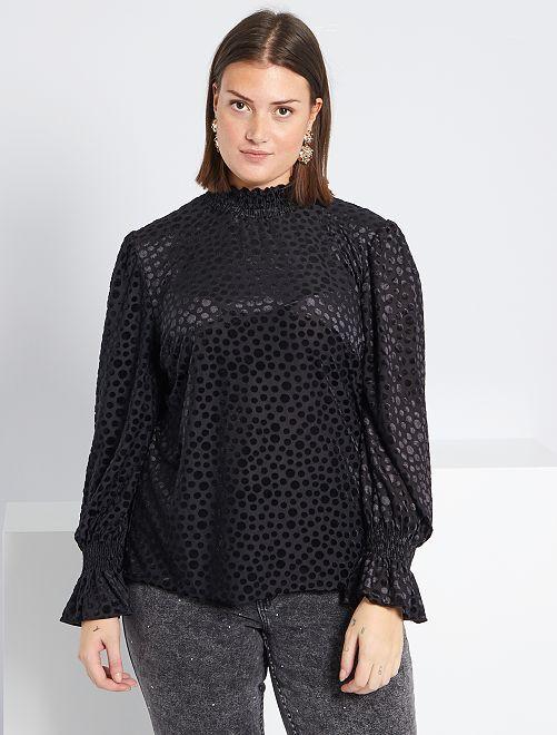 T-shirt voile et velours                             noir