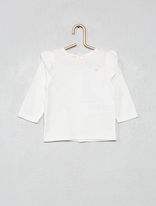 T-shirt volanté 'éco-conçu'                                                                 blanc cassé
