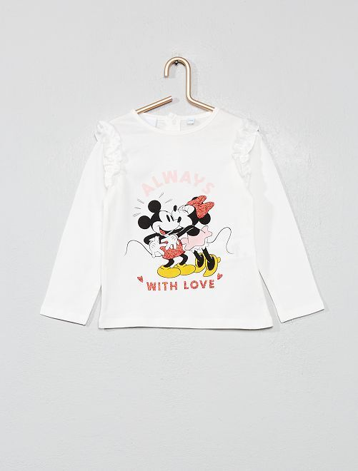 T-shirt volanté 'Minnie' et 'Mickey'                             blanc