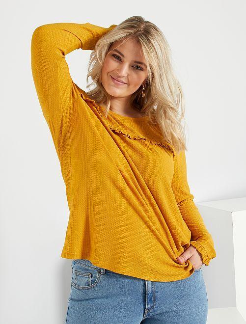 T-shirt volants poitrine                             jaune