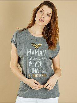 Femme du 34 au 48 - T-shirt 'Wonder Maman' - Kiabi