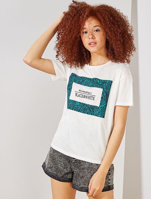 T-shirt 'zèbre' brodé                                                     écru/vert