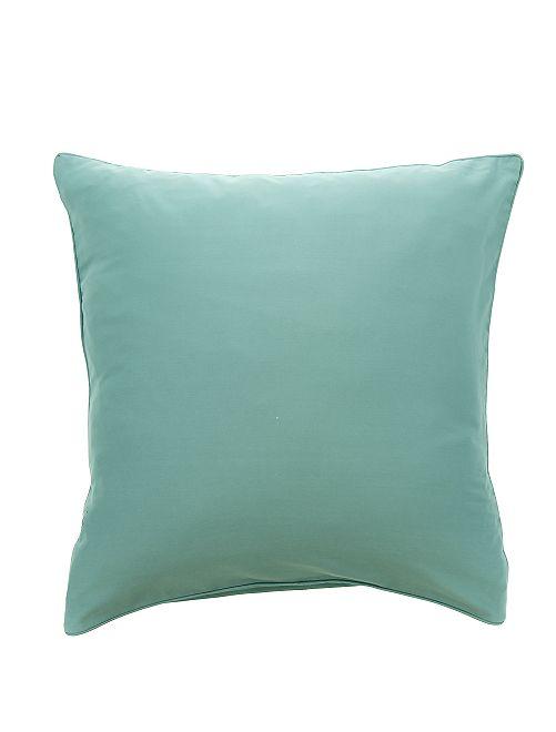 Taie d'oreiller en satin de coton                                                     bleu celadon