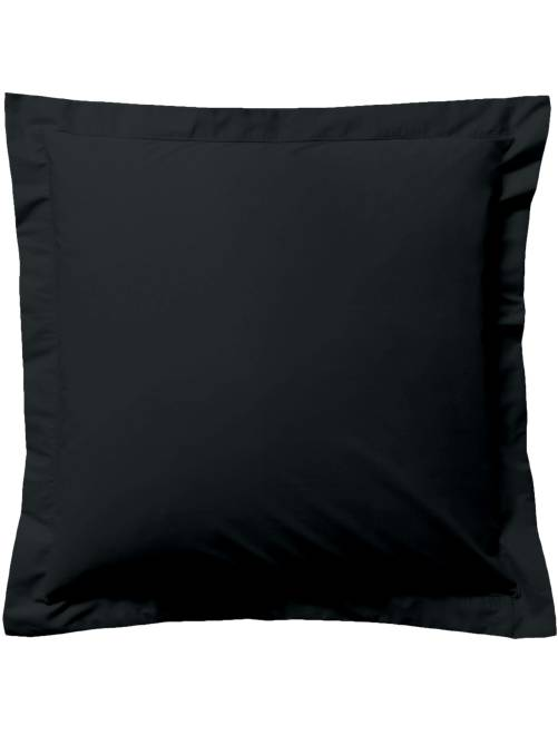 Taie d'oreiller unie                                                                                                                             noir Linge de lit