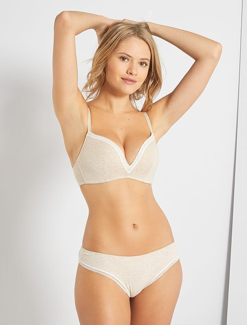 Tanga coton galons dentelle                                 beige chiné