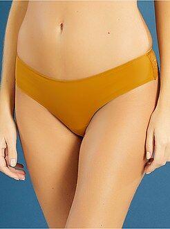 Culotte, shorty, string jaune - Tanga dentelle et microfibre