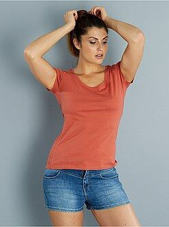 T-shirt, débardeur orange - Tee-shirt à manches courtes