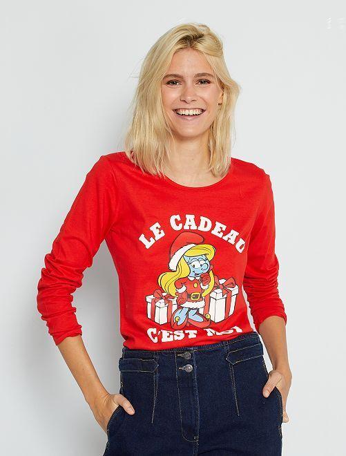 Tee-shirt à manches longues 'schtroumpfette'                             rouge
