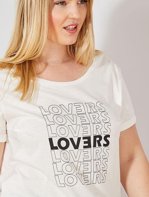 Tee-shirt à message                                                                                                                 blanc Grande taille femme